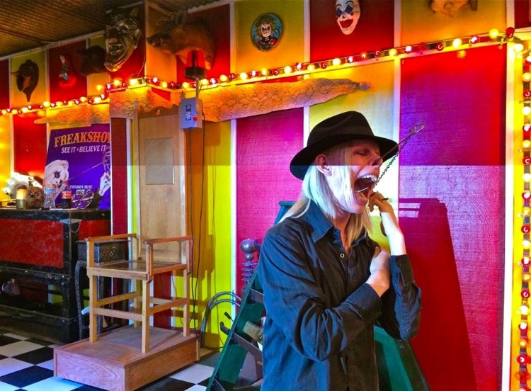 Shock artist Morgue amazes and horrifies the audience by placing a large hook through his nose and out through his mouth during a performance. Read more: http://www.rollingstone.com/culture/pictures/bearded-ladies-and-fire-eaters-inside-the-venice-beach-freakshow-20150326#ixzz43doaHrn4 Follow us: @rollingstone on Twitter   RollingStone on Facebook