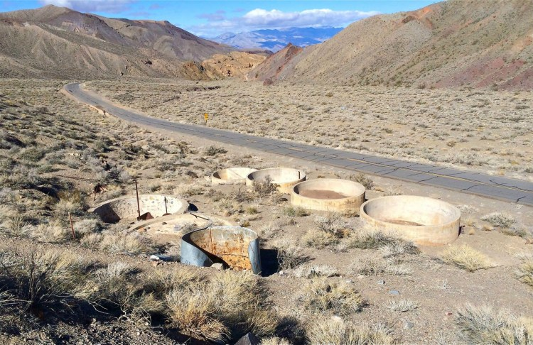 Its only a few miles down Emigrant Canyon Road and can be identified by two large water containers on a hill.