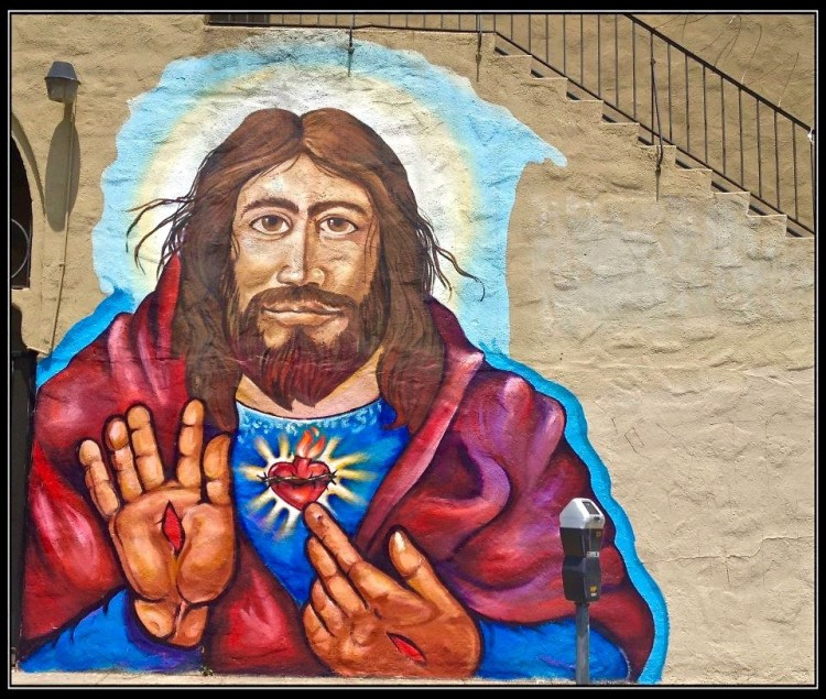 Hi Stigmata Jesus Highland Park Theatre [side of building] Avenue 56 + Figueroa, Highland Park, LACA