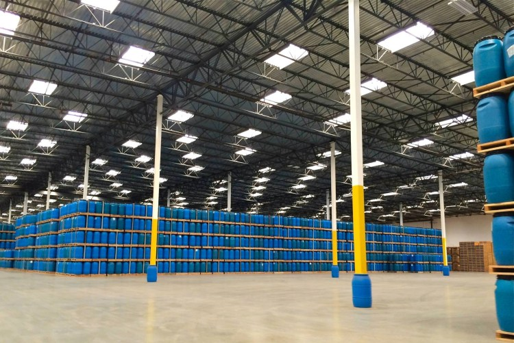 They also make all these blue storage/marinating buckets within the factory. Oh and those are all skylights creating an amazing amount of light within the space.