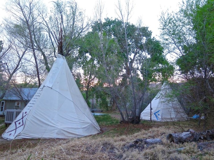 Behind the Ranch House, in the shade of high cottonwood trees