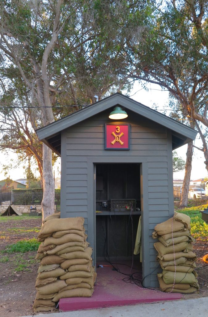 ...sand bagged sentry posts,