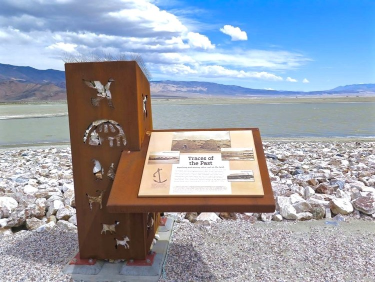 Kiosk constructed for the NUVIS Owens Lake landscape project