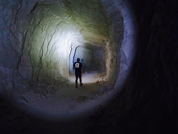 The tunnels are huge. Some are 40 feet wide and 20 feet tall and go for hundreds of feet, down at an angle of 45 degrees.