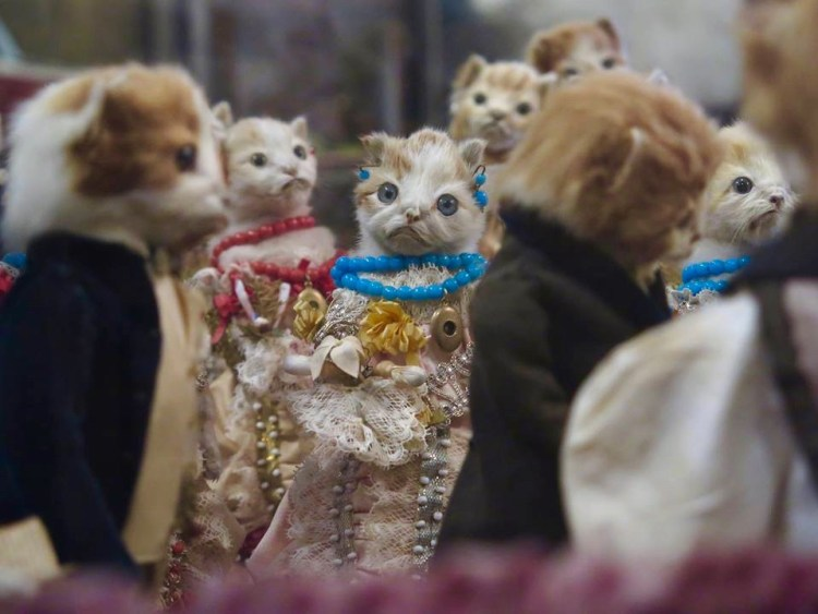 "The highlight of the exhibit's anthropomorphic section, which features animals dressed up like humans and consists mostly of pieces from the Victorian era, is an elaborate wedding scene titled ""The Kittens' Wedding"" created by British taxidermist Walter Potter. The tableau created by British taxidermist Walter Potter in 1890, features about 20 kittens fully dressed in Victorian-era attire including jewelry and boutonnieres."