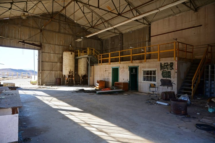 The maintenance/garage area of the mill building