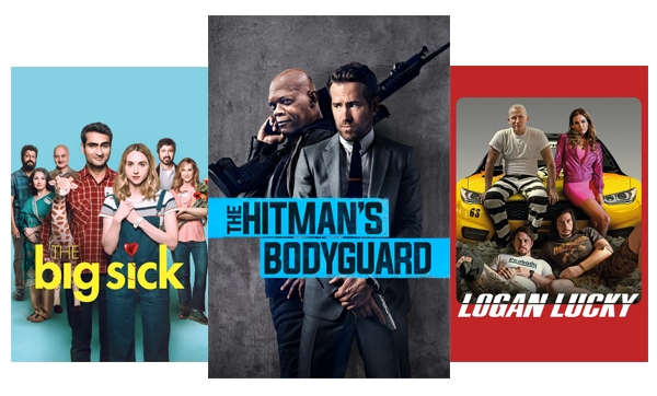 Blockbuster and classic movies like The Big Sick, Hitman's Bodyguard & Logan Lucky.