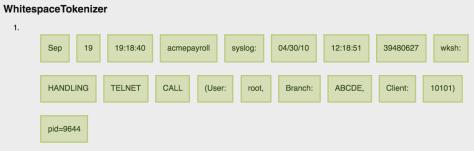 NLTK Whitespace Tokenizer log example
