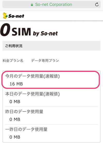 0SIM by So-net 利用状況 20160117