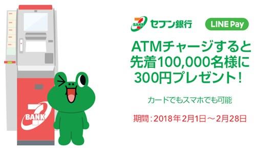 LINE Pay セブン銀行ATMチャージで300円プレゼント