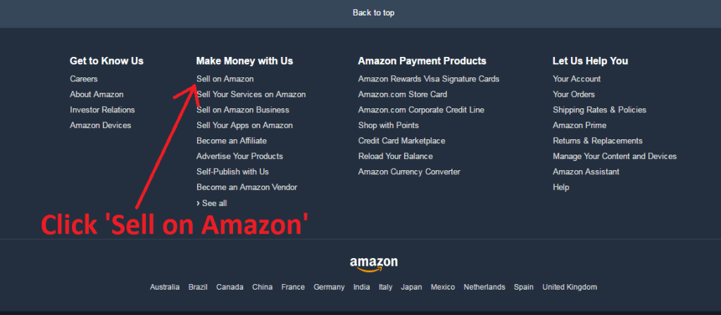 "screenshot of Amazon home page Footer with an arrow pointing at the word 'Sell' with text saying to ""Click Sell on Amazon"""