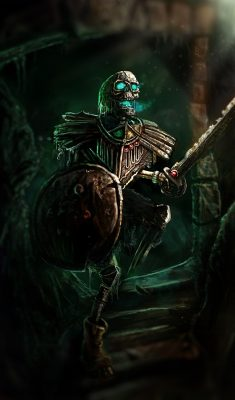 Drawing of a skeleton Warrior by The Noble Artist