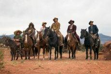 'The Ridiculous Six' stars (left to right) Rob Schneider, Jorge Garcia, Taylor Lautner, Adam Sandler, Terry Crews, and Luke Wilson