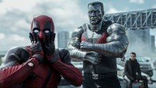 Deadpool (Ryan Reynolds) reacts to Colossus' (voiced by Stefan Kapicic) threats in the big screen version of the irreverent and violent comic book.