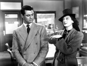 Cary Grant and Rosalind Russell in the film by Howard Hawks