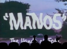Joel Hodgson, Tom Servo, and Crow T. Robot heckle Manos: The Hands of Fate