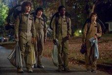 Gaten Matarazzo, Finn Wolfhard, Caleb McLaughlin, and Noah Schnapp in the second of Netflix's Stranger Things