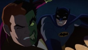 Adam West, Burt Ward, William Shatner, and Julie Newmar voice the characters in this animate feature