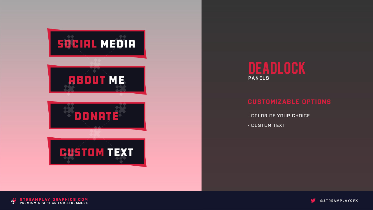 preview of the red deadlock panels for twitch channels