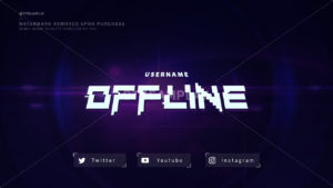 purple offline banner for Twitch with glitch text