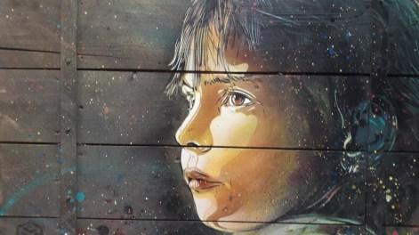 C215, Nina, 2013 Pochoir sur bois 110 x 136 cm