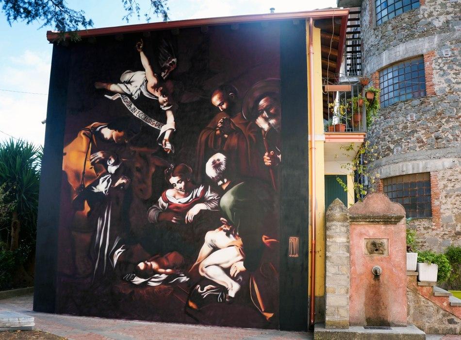 """""""Natività con i santi Lorenzo e Francesco d'Assisi"""" Caravaggio, San Salvatore di Fitalia (Messina), Spray su Muro,Dicembre 2016"""