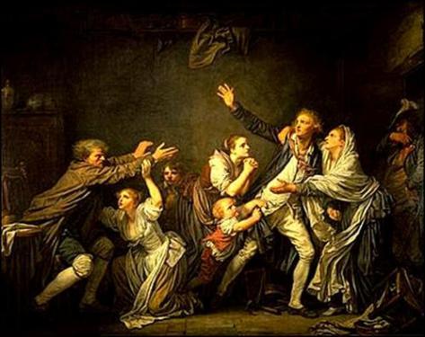 Madame s'attaque à un diptyque complexe, celui du peintre et dessinateur français Jean-Baptiste Greuze (1725-1805) : La Malédiction Paternelle. Ici, Le fils ingrat
