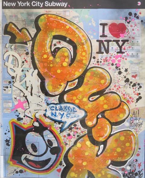 """""""Classic Yellow"""", Lin Felton alias Quik, technique mixte sur map de NYC, Las Vegas, 2018 ©Galerie Green Flowers Art"""
