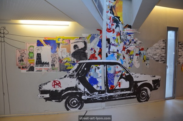 fresque street art bilbiothèque Lyon Part Dieu