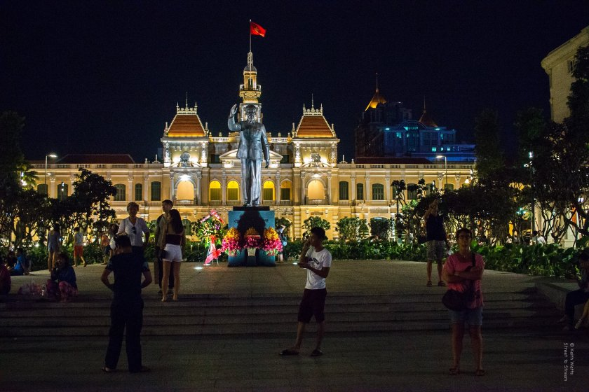 The imposing seven metre tall statue of Ho Chi Minh stands in front of the City hall named in his honor