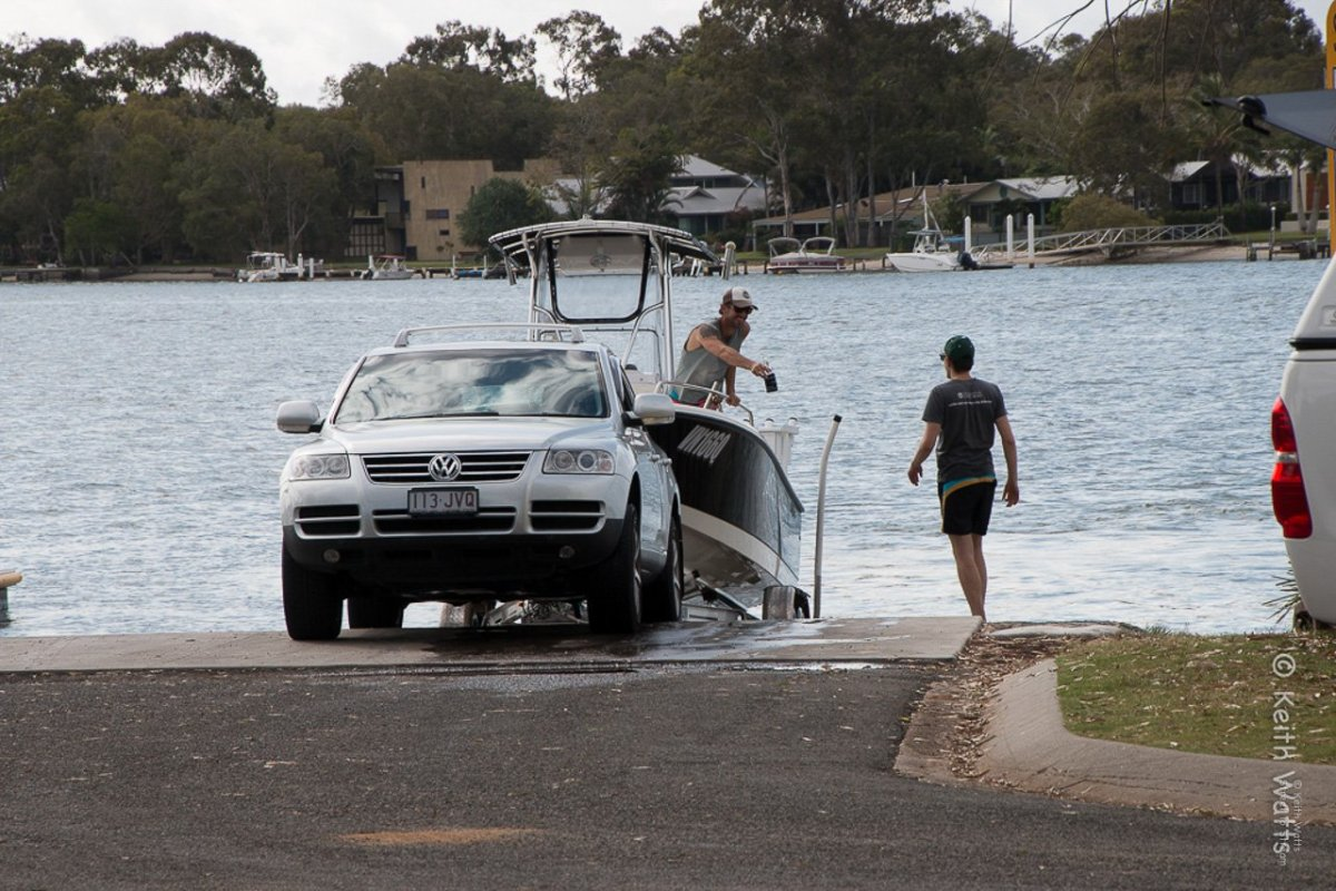 Pulling the boat out at a ramp on the Noosa River at Noosavile