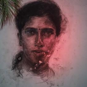 Daniel Connel malt eine junge Frau überlebensgroß im Portrait