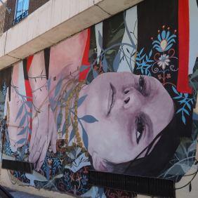 Das Mural von Bosoletti zeigt ein in Blumen gebettetes Mädchen