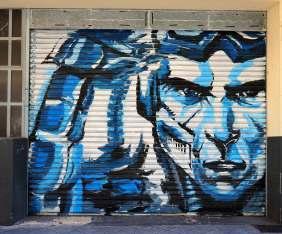 """blaues Männerportrait """"der Angreifer"""""""
