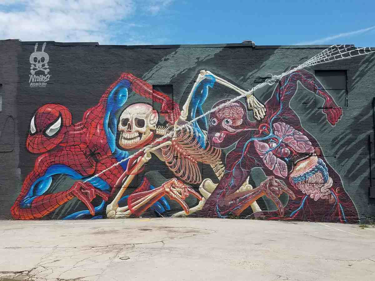 Mural of Spiderman by artist Nychos in Old Fourth Ward Atlanta