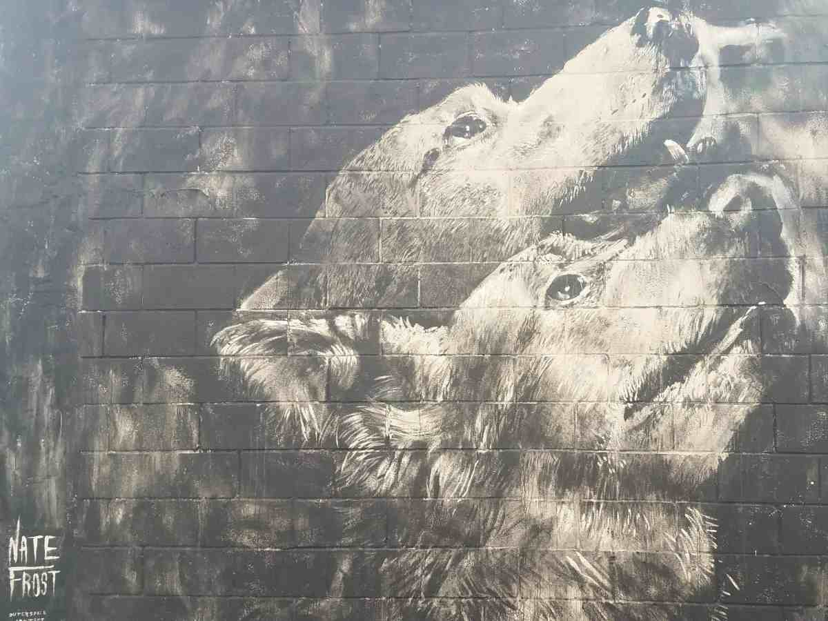 mural of two wolves by artist Nate Frost in Midtown Atlanta