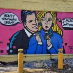 Mini mural by Chris Veal satirizing gentrification