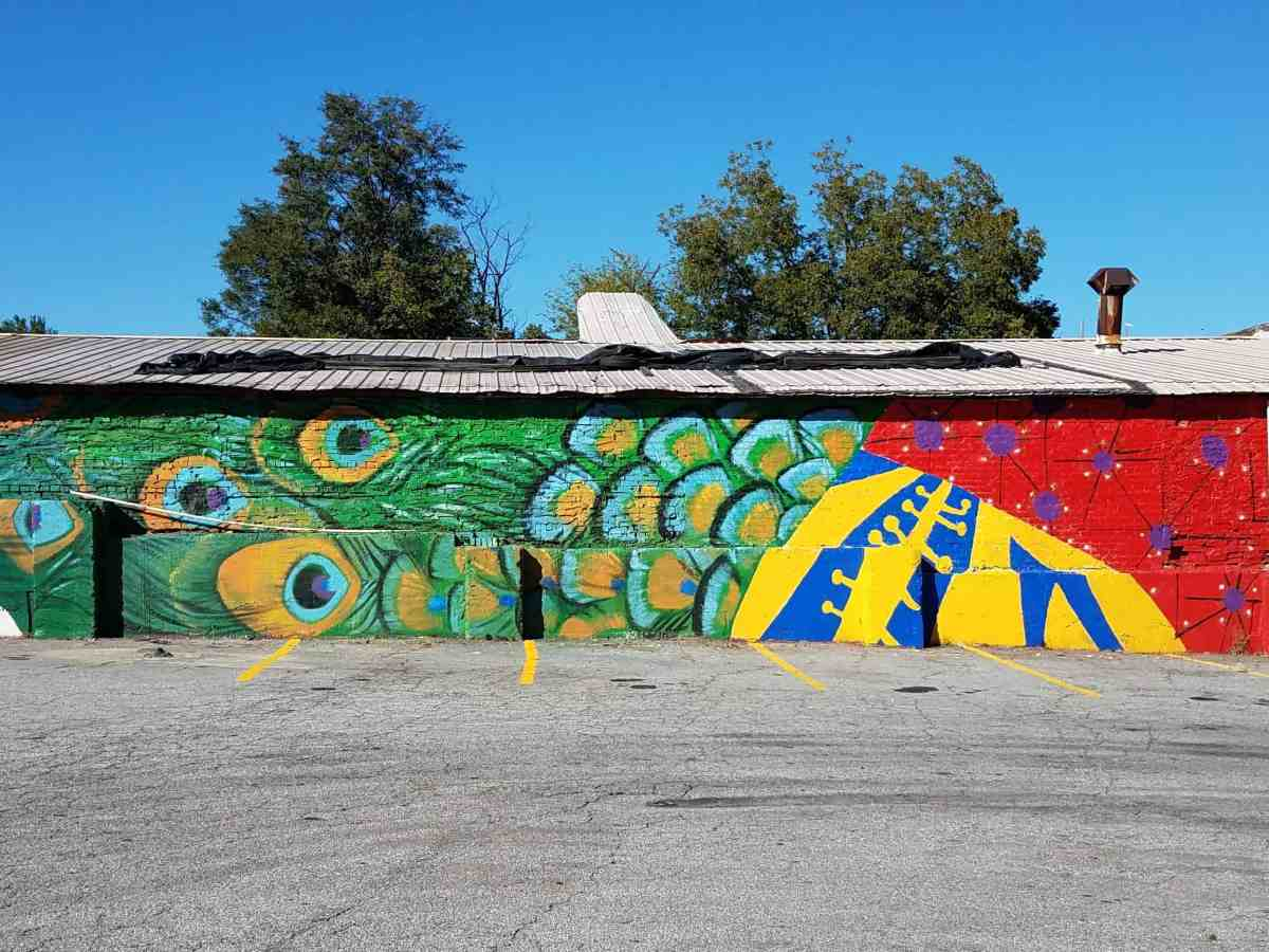 graffiti featuring peaccock feathers
