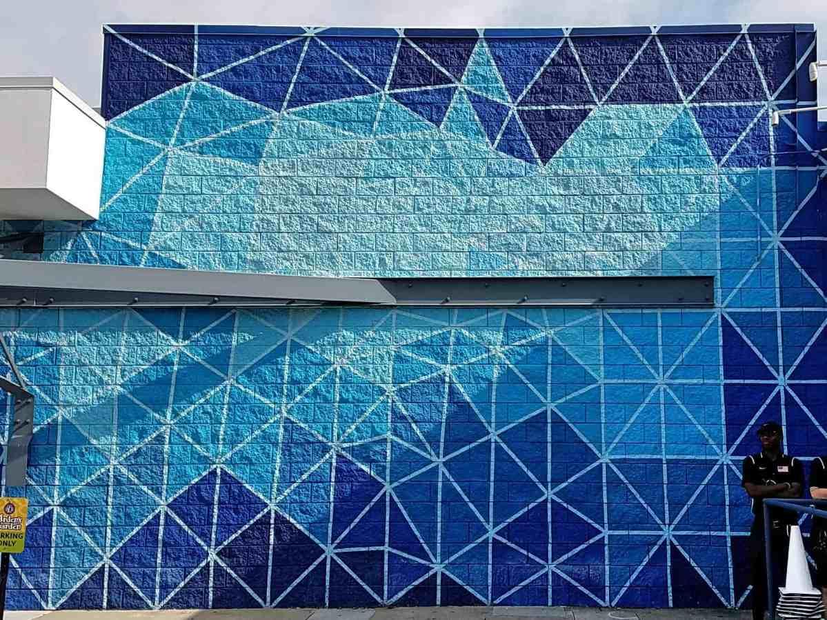street art featuring a blue geometric pattern