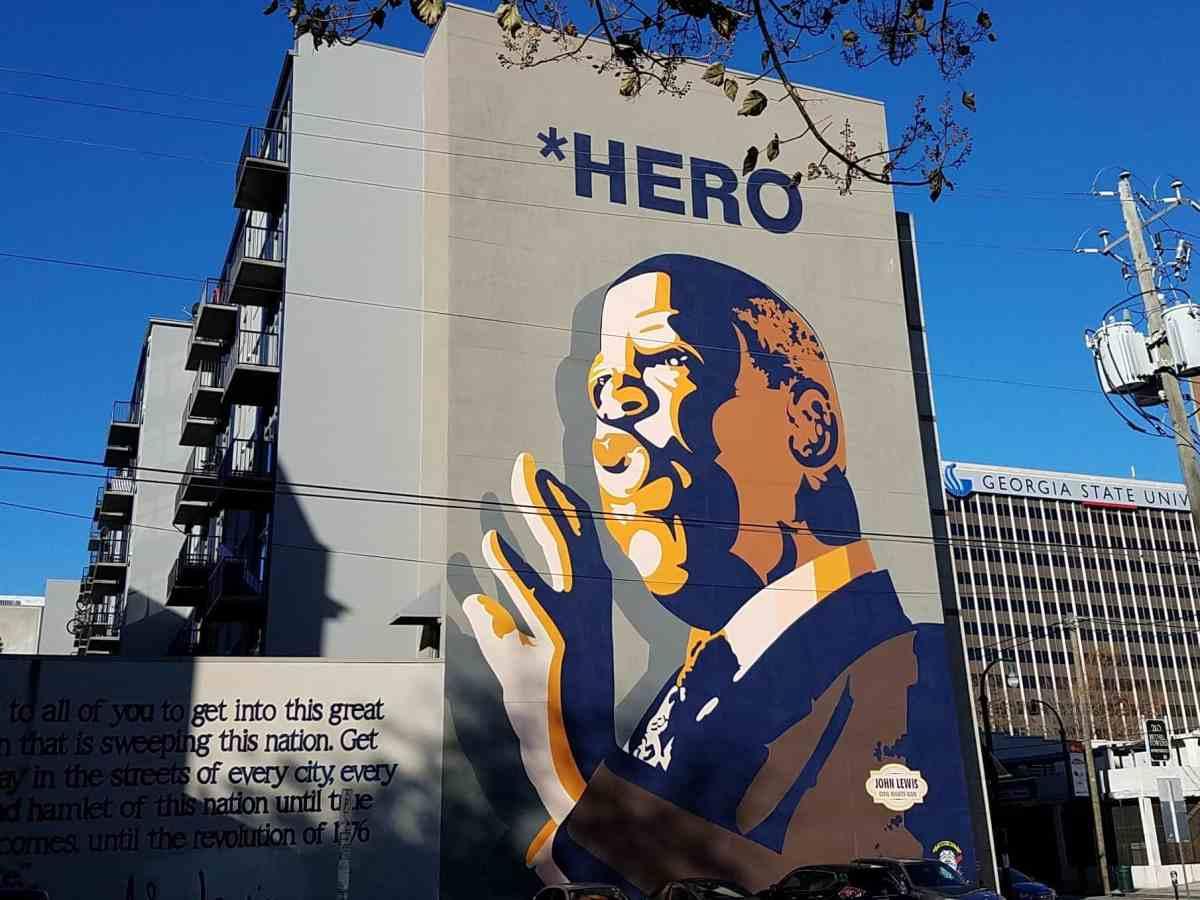 Mural of civil rights icon John Lewis by artist Sean Schwab