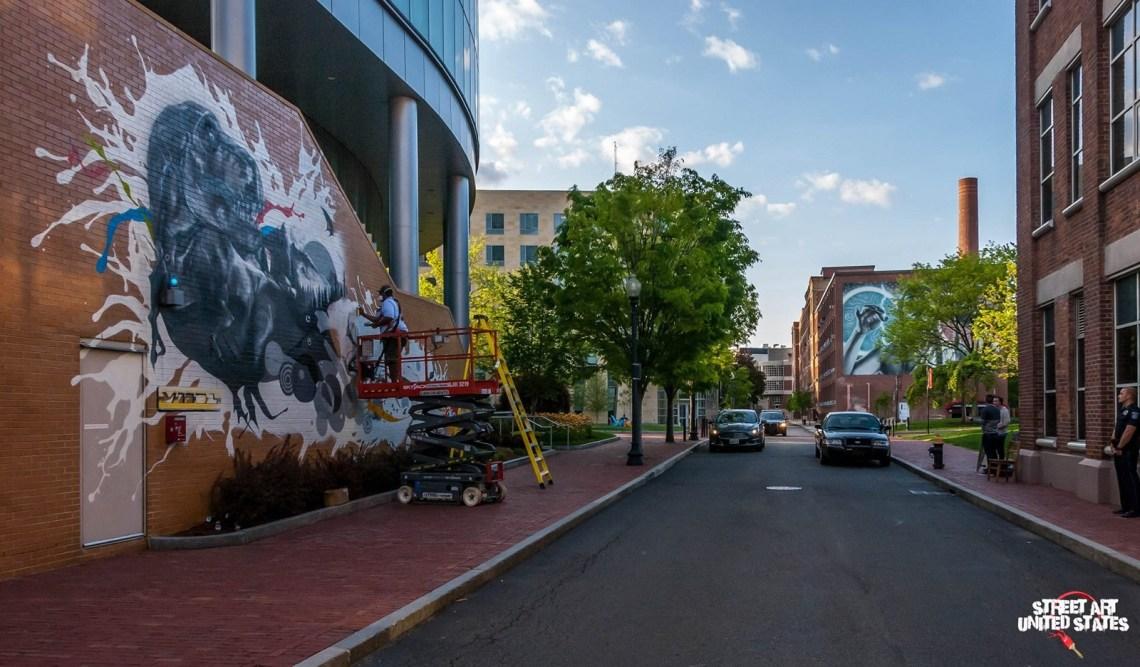 A world of Innocent Wonder in progress with Elmac mural