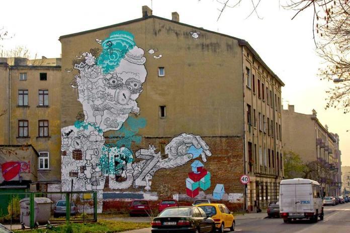 7 Galeria Urban Art Forms in Lodz, Poland. By Gregor