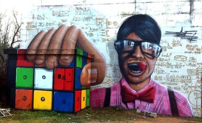 The Rubik Cube - 3D Street Art by Jeazer Oner