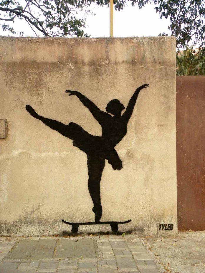 Street Art by Tyler in New York, USA. Ballerina Level - Expert
