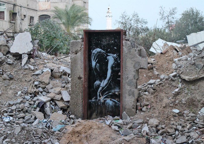 Street Art by Banksy in Gaza, Palestine 6