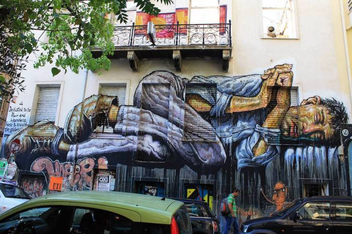 No land for the Poor - Street Art by Wild Drawing in Athens, Greece 2015