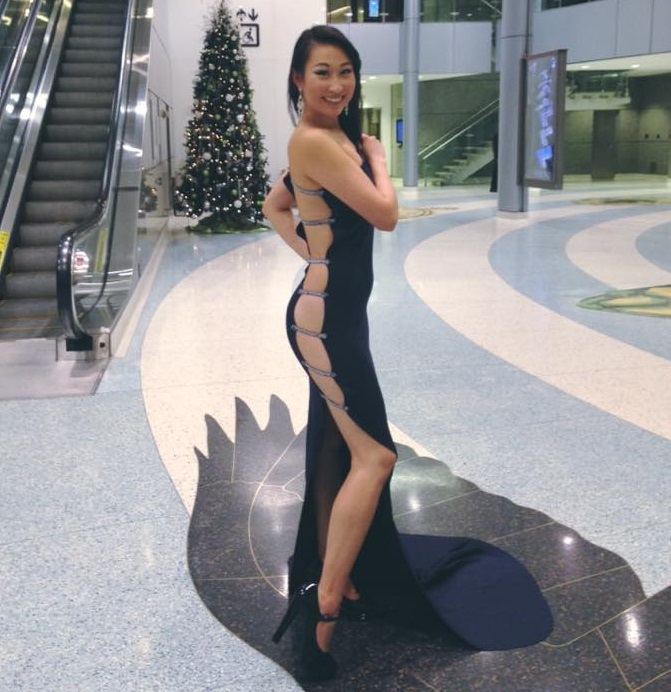 Alice models a chic hand-sewn black evening dress at Metro Convention Centre.