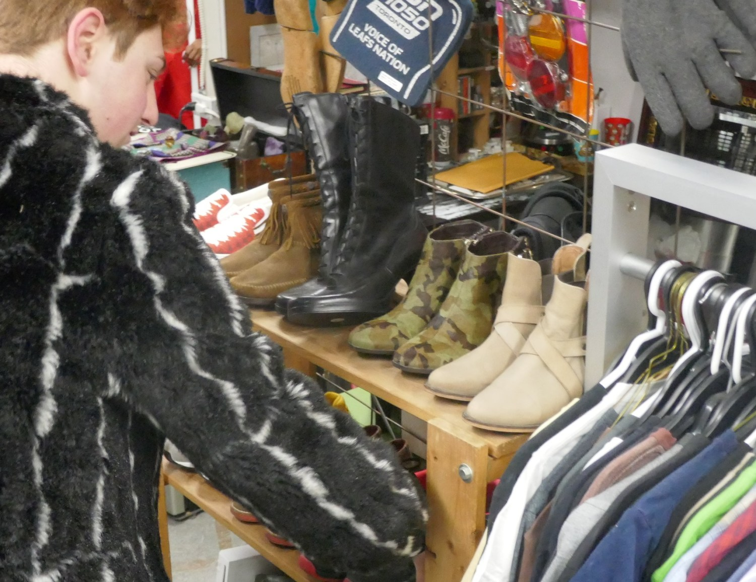 shopping for shoes at Parkdale Flea in Toronto