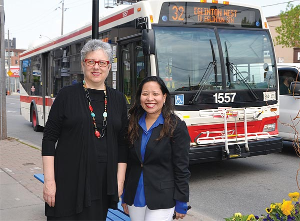 Eglinton Way BIA board chair Maureen Sirois, left, and executive director Monique Drepaul