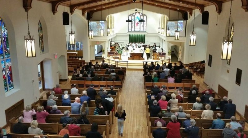 Congregation in sanctuary